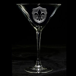 "Crystal Imagery, Inc. - Fleur De Lis Engraved Martini Cocktail Glasses, Set of 4 - Our fleur de Lis Martini Cocktail Glass set of 4 is engraved with the popular French design, are a unique gift for the person who loves french country decor. Our Fleur de lis engraved martini glass features an old world shield background carved out from the glass by our master glass carvers to leave the fleur de lis boldly raised from the cocktail glass surface in a stunning 3 dimensional manner. A great wedding gift, anniversary or birthday gift idea for someone with French heritage or who loves French Country decor. Our French martini bar glasses are a gift that will make jaws drop and will be used and appreciated for many years to come. At 7"" high by 4.5"" wide, our custom martini glass holds your favorite cocktail in style. Dishwasher safe. Made in the USA."