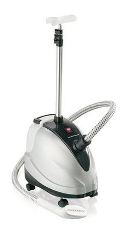 Hamilton Beach - Hamilton Beach - 90 Minute Garment Steamer - Spend less on dry cleaning. Water tank fills up at the sink for 90 minutes of steaming power. Great for drapes & bedskirts. Gentle on fabrics - great for cotton blends, synthetics & more. Telescoping pole retracts for storage. Rolling Casters. Fabric crease tool & bristle brush upholstery attachments included