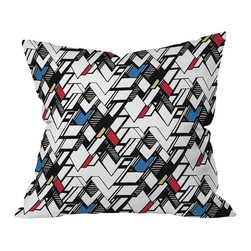DENY Designs - Karen Harris Taliesin Multi Throw Pillow, 18x18x5 - Designer Karen Harris creates a dazzling throw pillow. Primary colors accent the dynamic chevron pattern, which is reproduced on 100 percent woven polyester and fitted with a bun insert.