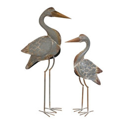 """IMAX - Fairfax Metal Cranes - Set of 2 - As the longest known bird species, the crane is a symbol of longevity and is known to bring good fortune. This set ofeetwo metal statuary is sure to add a coastal f l or simply a bit of happiness to any room of your home. Item Dimensions: (24.75-32.25""""h x 6.25-7.25""""w x 13-16"""")"""