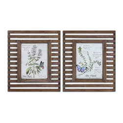 Uttermost - Uttermost 34037  Herbs & Butterflies Wood Framed Art - Prints are accented by reclaimed wood frames with a distressed, medium wood tone finish and a taupe glaze. frames have open slots allowing wall color to show thru.