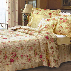 """Greenland Home Fashions - Antique Rose Bonus Quilt Set - Surface texture and warm colors refine the look of this updated classic quilt set. The deep ecru fabric features garden roses in rich red and gold hues. Antique Rose is framed and reversed to a coordinating striped fabric. Finely stitched for durability and scalloped along the edges. Features: -Available in Twin, Full / Queen or King sizes. -Each bonus set includes quilt, two shams & two decorative pillows (one sham/pillow per twin set). -Oversized for better mattress coverage. -100% Cotton. -Easy care machine washable. Specifications: -Twin: 68"""" W x 88"""" D. -Full / Queen: 90"""" W x 90"""" D. -King: 105"""" W x 95"""" D. -Sham: 20"""" W x 26"""" D. -King Sham: 20"""" W x 36"""" D."""