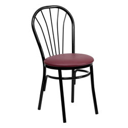 """Flash Furniture - HERCULES Series Fan Back Metal Chair - Burgundy Vinyl Seat - This traditional Fan Back Chair is often used in the Hospitality industry for its casual design. These heavy duty chairs are lightweight to make moving around easy to do. The easy to clean vinyl padded seat is easy to clean when in a high paced environment. Not only are these chairs great for commercial use, but will make a great dining room chair. Heavy Duty Metal Restaurant Chair; Fan Back Design; Burgundy Vinyl Upholstered Seat; 2.5"""" Thick Foam Padded Seat; 18 Gauge Steel Frame; Curved Support Bar; Glossy Black Frame Finish; Plastic Floor Glides; CA117 Fire Retardant Foam; Designed for Commercial Use; Suitable for Home Use; Overall dimensions: 16""""W x 20""""D x 34.5""""H"""