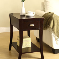 None - Espresso Side Table - This functional side table has a great finish to match your decor. This living space accent piece is ideal for use as a table to store your belongings.