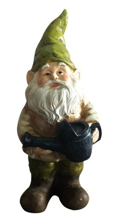 Alpine - Gnome with Watering Can Statue - Add color, spice and life to your outdoors with these fiberglass gnome statuaries. Each has its own playful personality and is sure to bring a fanciful feel to any yard, garden or deck. These sturdy statuaries boast earth hues of green and beige.Features: