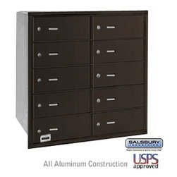 Salsbury Industries - 4B+ Horizontal Mailbox - 10 B Doors - Bronze - Rear Loading - USPS Access - 4B+ Horizontal Mailbox - 10 B Doors - Bronze - Rear Loading - USPS Access