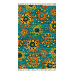 """Loloi Rugs - Loloi Rugs Aria Collection - Turquoise / Multi, 1'-8"""" x 3' - Expressive and relaxed, stylish and fun. The Aria Collection from India has it all. Pretty paisley patterns, flourishing flowers, dreamy damasks and magical medallion designs are printed onto 100% recycled cotton Chindi for scatter rugs that are flirty and fashionable. Dressed in a palette of bold, saturated colors that take you from cool blues and pinks to warm spice tones and modern tropical hues, too, Aria rugs come in select scatter sizes that will accent choice spaces with flair."""