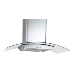 Equator - 36-inch Curved Glass/ Stainless Steel Range Hood - Three fan speeds are offered by this convenient stainless steel range hood. With a generous 600 CFM speed,this 36-inch range hood features an elegant curved glass accent and is energy-efficient.