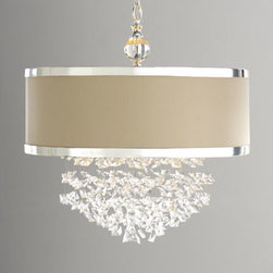 "Horchow - Fascination Chandelier - Drum shade with chrome-finished metal bands surrounds free-falling crystals to bring an unmistakable style to your setting. Imported. Uses three 100-watt bulbs. 22""Dia. x 23""T with 7'L chain. Ceiling canopy included."