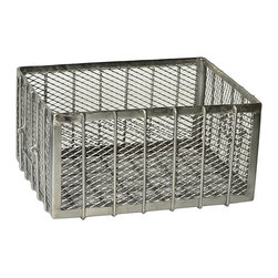 Steel Basket, Stainless Steel - This rectangular steel basket is a handsome industrial accent for the contemporary home. Constructed from steel framing and enclosed with steel mesh, this basket has an open top and handles on either side. A fun and interesting accent in the home office for files and paperwork, or in the kitchen as catch-all storage, this steel basket lends a robust modern look and feel to any room.
