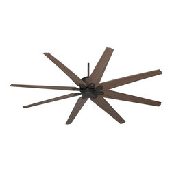 "Casa Vieja - Arts and Crafts - Mission 72"" Predator English Bronze Outdoor Ceiling Fan - This large ceiling is damp rated and perfect for large patio areas and porches. Finished in English bronze with eight reversible walnut and cherry finish ABS blades. DC motor with included six-speed remote control and wall bracket.  English bronze finish motor.  Eight walnut finish ABS blades.  72"" blade span.  14 degree blade pitch.  Damp rated.  DC-165L motor.  Includes six-speed full function hand-held remote control.  Includes 4"" downrod.  Fan height 12 1/4"" ceiling to blades (with 4"" downrod).   Fan height 13"" ceiling to bottom of switch housing (with 4"" downrod).   Canopy 6"" wide."