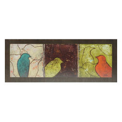 Paragon Decor - Lovely Birds II - Convex - Fun, whimsical birds are mounted onto a convex board with a dark wood finish.