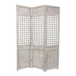 Oriental Furniture - 6 ft. Tall Open Lattice Room Divider - This solid wood room divider, features a simple, elegant lattice on each of its three panels. The exceptional quality shows through in its timeless distressed wood finish and solid wood construction.  The classic design makes for an appealing accent for American or European eclectic interior decor.