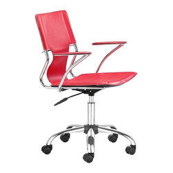 Zuo Modern - Zuo Trafico Office Chair in Red - Office Chair in Red belongs to Trafico Collection by Zuo Modern This fun and functional office chair combines a modern and transitional look. The Trafico office chair is made from solid steel chrome frame, leatherette sling seat and arm pads, with a chrome base with adjustable height. Office Chair (1)