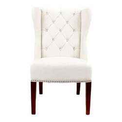 Nuloom - nuLOOM Modern Natural Nailhead Accent Wingback Chair - Complete the look of your living space with this wingback accent chair. Featuring a beautiful natural-colored upholstery and lovely wooden frame,this chair will provide you with convenient extra seating while complementing any decor.