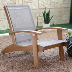 Belham Living Whitman Adirondack Chair with Sling - Natural - Enjoy the feeling of accomplishment sitting in your Belham Living Whitman Collection Adirondack Chair with Sling after a long day of perpetual yard work. Built from durable FSC-certified Eucalyptus wood, this chair will bring stability and endless comfort. The natural finish will gracefully accompany your current patio setup and provides a calming appeal to the backyard. The weather-resistant sling seat and back will withstand the elements and will dry quickly when in need of use. The contoured seat and back make for an invigorating time and is certain to bring you back out for more relaxing. Don't miss out on a perfect excuse to take breaks when dreading work around the yard. Bask in solitude and quietness, or bring a set chairs home today to provide seating when hosting guests outside. FSC Wood - Forestry Stewardship Council (FSC) certified forests are managed to ensure long-term timber supplies while protecting the environment and lives of forest-dependent peoples. Wooden Outdoor Furniture Care and MaintenanceThe finish on wood outdoor furniture when exposed to an environment with substantial temperature changes (moisture, sun and salt air) can change over time. It is not uncommon and users should expect some swelling, discoloration or possible surface cracks due to the outside exposure and changes in the weather. These are considered natural occurrences of wood and should not be considered as a product defect. To prolong the life of your item you should consider placing under a covered area. About Belham Living Belham Living builds catalog-quality furniture in traditional styles at a price that actually makes sense. By listening to our customers and working closely with great manufacturers, we build beautiful pieces worthy of your home. Rich wood finishes, attention to detail, and stylish lines that tie everything together are some of the hallmarks of a Belham Living piece. From the living room or bedroom, through the kitchen, and out onto the deck, there's something from an incredible Belham collection perfect for your style.