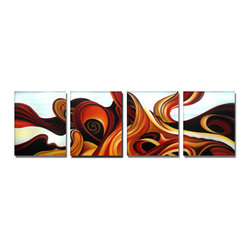 fabuart - Retro Abstract 4 Panels Artwork - 64 x 20in - This beautiful Art is 100% hand-painted on canvas by one of our professional artists. Our experienced artists start with a blank canvas and paint each and every brushstroke by hand.