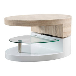 Great Deal Furniture - Emerson Oval Mod Swivel Coffee Table w/ Glass - The Emerson Oval Mod Swivel Coffee Table is reminiscent to the late 60's era.  This modern designed table features a rotating top that can be angled according to your convenience and taste, and tempered glass shelving for a unique accent. Far from traditional, the Emerson will sure to be a statement piece in your living room, bedroom or office.