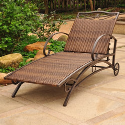 International Caravan - International Caravan Valencia Resin Wicker/ Steel Frame Multi-Position Chaise L - The Valencia resin wicker and steel frame chaise lounge is a comfortable and stylish addition to any outdoor setting. The multi-position steel frame is complemented with flat-woven resin wicker.