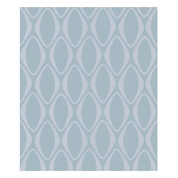 Kenneth James - Eclipse Light Blue Diamond Geometric Wallpaper - Diamonds are a contemporary room's best friend! With shiny diamond shapes against a light blue background, this mod geometric wallpaper is ready to shimmer its way into your bathroom or foyer.
