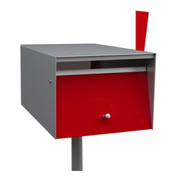 BoxDesign - Stainless Steel Letterbox, Red, Stainless Steel Post, Letterbox Flag - Front opening letterbox from the Urban Range, ideal to be grouped into banks for units & apartments.