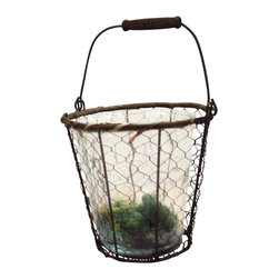 Heather Fields Home & Garden - Rustic Wire & Glass Vase or Candle Holder - Rustic wire & thick glass lantern. Can be used for a candle or as a vase.