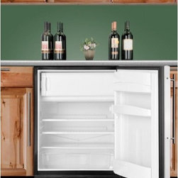 ALB653B ADA compliant built-in refrigerator-freezer in black with a stainless st - SUMMIT's ALB653B brings advanced cooling technology to built-in under-counter refrigerator-freezers made to fit under ADA counters.