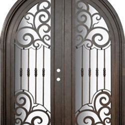 Barcelona 72x96  Round Top Forged Iron Double Door 14 Gauge Steel - SKU# PHBFBRTDR4 Exterior Prehung Double Glazed Steel Insulated Tempered Glass Round Top Radius Full Lite Panel Wind-load Rated Mediterranean Victorian Bay and Gable Plantation Cape Cod Gulf Coast Colonial