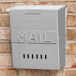 """Vertical """"MAIL"""" Wall-Mount Stainless Steel Mailbox - The sleek lines of this wall mount mailbox highlight its classic design style. Made of stainless steel and featuring a hinged overlapping lid, this mailbox is ideal for protecting your mail from the elements."""