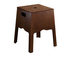 Gedy - Floor Standing Storage Bing And Stool In Old Walnut Finish - A trendy bathroom stool for your luxury personal bathroom.