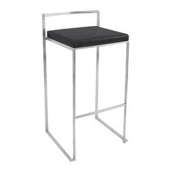 Lumisource - Fuji Stacker Bar Stool Black - The simple elegance of the Fuji bar stool belies its astonishing comfort. Lightweight stainless steel legs and backrest support a thick padded leatherette cushion. Features a stackable design for easy storage. With its simple elegance, the Fuji bar stool is sure to match any decor.