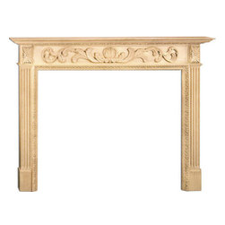 "Inviting Home - Augusta Medium Fireplace Mantel - Augusta medium fireplace mantel overall - 63""W x 51""H opening - 50""W x 40""H shelf - 71-1/4""W x 8""D Wood fireplace mantels are hand-carved from premium selected hard maple. Fireplace mantels come unfinished finely sanded ready to accept any stain to match you surrounding woodwork. Classic gracious design of the wood fireplace mantels speaks gently of understated elegance and undeniable refinement."