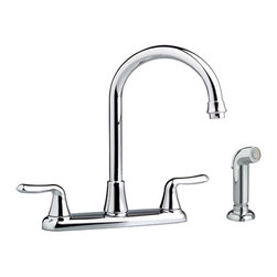 """American Standard - American Standard 4275.551.002 Colony Soft Two-Handle Kitchen Faucet, Chrome - This American Standard 4275.551.002 Colony Soft two handle Kitchen Faucet is part of the Colony collection, and comes in a beautiful Chrome finish. This 2-handle goooseneck kitchen faucet features a brass swivel spout, a 12"""" spout height, metal lever handles, and a separate side-spray."""