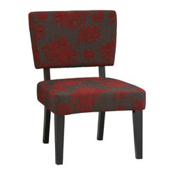 Linon - Taylor Accent Chair - Red Floral - 36080RGB-01-KD-U - Shop for Dining Chairs from Hayneedle.com! Big bright flowers make any room feel a little more special - and when they're on the Taylor Accent Chair - Red Floral they make it feel a little more unexpected too. This hip accent piece effortlessly melds a funky vintage print a streamlined modern shape and an essential spare-seating function. It's crafted with a durable hardwood frame featuring squared edges and a contemporary black finish. Cool grey 100% polyester fabric upholstery is printed with large-scale just-wild-enough red flowers and no-sag sinuous loop steel springs and substantial California fire foam padding inside make for one of the softest most supportive seats in the house. Snag a pair to bookend the coffee table or use one of these chairs with one of our others for a cool mix-and-match scheme.About Linon Home DecorLinon Home Decor Products has established a reputation in the market for providing the best trend-right products at the right price while offering excellent quality style and functional furnishings to every room in the home. Linon offers a broad selection of furnishings for today's discriminating and demanding retail environments. They offer outstanding values for every room; a total commitment of quality service and value that is unsurpassed in their industry.