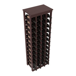 "48 Bottle Kitchen Wine Rack in Redwood with Walnut Stain + Satin Finish - Store 4 complete cases of wine in less than 20"" of wall space. Just over 4 feet tall, this narrow wine rack fits perfectly in hallways, closets and other ""catch-all"" spaces in your home or den. The solid wood top serves as a shelf or table top for added convenience and storage of nick-nacks."