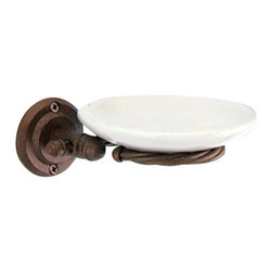 Gedy - Wall-Mounted Pottery Soap Dish With Moka Mounting - Vintage style wall mounted soap holder with pottery soap dish.