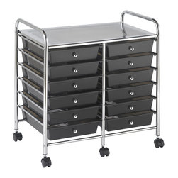 Ecr4kids - Ecr4Kids 12 Drawer Mobile Organizer - Smoke - A Mobile Organizer with tubular, chrome-plated steel frame and 12 drawers - perfect for sorting by the months of the yearThis practical organizer can hold just about everything from art and crafts projects to office supplies or even hand tools With its 12 drawers, its perfect for the home or office to sort by the months of the year.  Polypropylene drawers easily slide in and out on the chrome plated steel frame rails.  This double-wide, multi-purpose organizer glides effortlessly under most tables or desks on 6-swivel casters (2-locking).  Also available in Assorted (AS) and White (WH) colors.