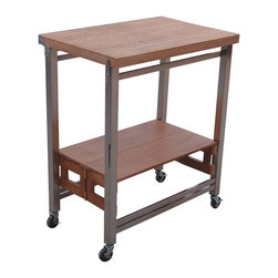 Oasis concepts flip and fold island stainless steel and textured wood sand enjoy more - Fold away kitchen island ...