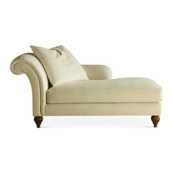 Baker Furniture - Chaise Lounge - A roll back chaise available right-and left-arm facing. Tight back with one throw pillow. Loose seat. Reeded feet.