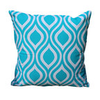 Auburn Design Studio - Chevron Pillow, Blue/White - Cotton Printed pillow in Blue and Black colors.Chevron print front and back. Blue and Black colors look very pretty and elegant. Zipper attached for easy removing.