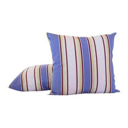 "Custom French Purple Stripe Pillows - A Pair - Custom designed throw pillows from Quarry Hill Design in Sausalito, CA.  Fabric is 100% Provencal cotton and imported form France.   Pillows are hand finished with concealed zippers.  Made in the USA. Down inserts are included.  Priced as a pair. In Provence the fabric vendors at all the markets at this time of year put their big beautiful bolts of ""Basque Stripe"" cottons up front, tempting everyone with the brilliantly hued fabrics. The traditional stripes of the southwestern region of France called le Pays Basque are beloved by Proven�ales for their ability to brighten even the smallest little corner of an otherwise monochromatic outdoor garden setting. These graphic stripes fabrics from the Pays Basque were originally made by traveling weavers going from farm to farm, customizing large sturdy sheets of rough fabric with unique stripe colors for farmers to cover their livestock as protection from insects. Today we love them in everything from pillows, to table linens, espadrilles, totes and deck chairs. They are the quintessential summer look in the south of France!"