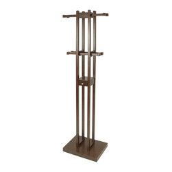 Proman Products - Proman Products Kobe Coat Tree with Key Box in Mahogany - Kobe coat tree with key box. Dark walnut color.
