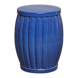 Blue Fluted Ceramic Garden Stool - Modern garden stool with a flat top and fluted curved sides. Blue glaze.