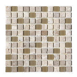 """Premier Worldwide - Travertine And Glass 1"""" X 1"""" Mosaic Blend - Cafe Noce 1x1 Glass Stone Blend tiles are a beautiful blend of beiges, chocolates and creams. Best uses include wall applications in both residential and commercial properties for kitchens, baths, and any accent walls.  Also known as Travertine Glass Blend"""