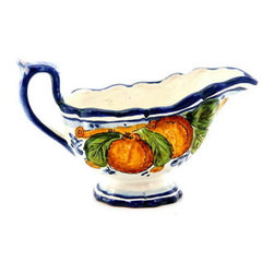 Artistica - Hand Made in Italy - Aranci: Sauce Boat - Aranci Collection: This item is part of our popular Aranci collection which feature oranges and lemons embellished with arabesque leaves and cobalt blue trim by our Italian painter.