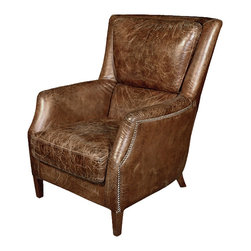 Kathy Kuo Home - Chelsea Classic Man's Room Distressed Cigar Leather Arm Chair - This is the chair every guy wants for his man cave.  The classic beauty — wrapped in warm distressed brown leather — is as luxurious and comfortable as it looks. Anyone who sinks into this inviting chair may be there all day.