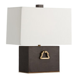 """Arteriors - Stirrup Lamp - This chocolate leather table lamp is accented with antique brass handles inspired by stirrups flanking a horse's saddle.  Topped with an off-white linen shade with matching lining.  Lamp body: 10"""" w x 5"""" d x 7"""" h  Socket Wattage: 100  Switch Color: Black  Switch Location: On Line  Switch Type: 3-Way Rotary  Cord Color: Taupe Fabric  Linen shade: 15"""" w x 7 1/2"""" d x 10"""" h"""