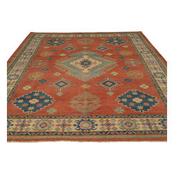 Geometric Design Red Kazak 100% Wool 9'x12' Hand Knotted Oriental Rug Sh17746 - Our Tribal & Geometric hand knotted rug collection, consists of classic rugs woven with geometric patterns based on traditional tribal motifs. You will find Kazak rugs and flat-woven Kilims with centuries-old classic Turkish, Persian, Caucasian and Armenian patterns. The collection also includes the antique, finely-woven Serapi Heriz, the Mamluk Afghan, and the traditional village Persian rug.