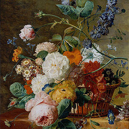 Basket of Flowers with Butterflies | Huysum | Canvas Print - Condition: Canvas Print - Unframed