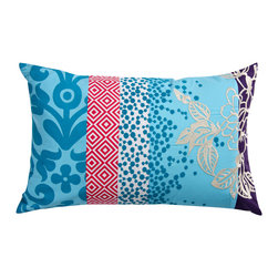 KOKO - Wallpaper Pillow, Small Blue - This pillow makes it easy to mix and match an array of prints. The embroidered dots are a playful contrast to the flowers, but that red geometric strip just might be the winning ingredient that makes this design soar.